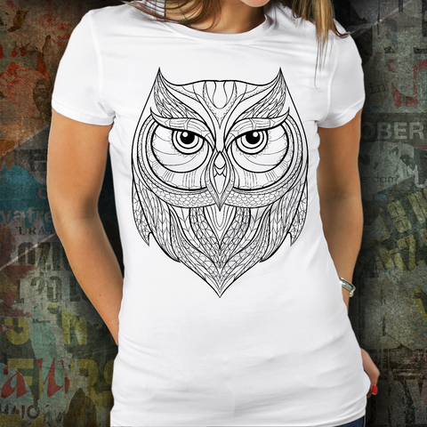Zentangle Owl T Shirt White - Top Brook