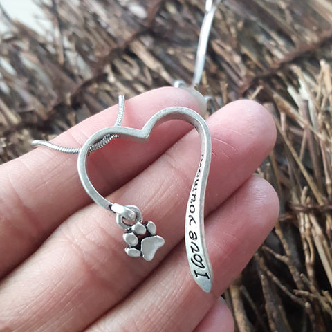 Lovely animal necklace Cute Pet Memorial i love you more dog animal Paw Necklace Paw Print Heart necklace woman Jewelry - Top Brook