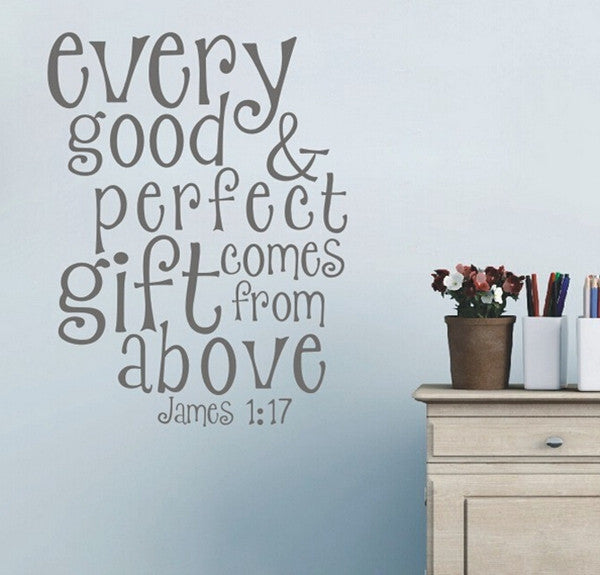 James 1 :17 Wall Decal Verse  FREE SHIPPING - Top Brook