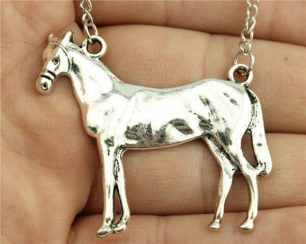 Silver Horse Pendant Necklace - Top Brook