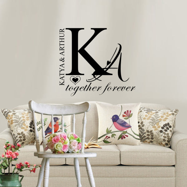 Personalized Couple Wall Sticker Decal FREE SHIPPING - Top Brook