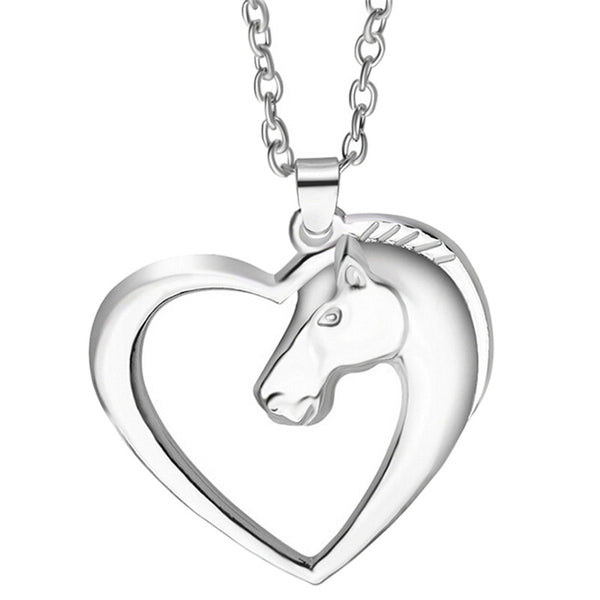 Silver Horse in Heart Pendant Necklace - Top Brook