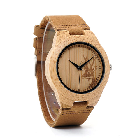 BOBO BIRD WN20 Lovers Elk Deer Head Bamboo Wooden Watch with Genuine Brown Leather Strap for Men Women - Top Brook