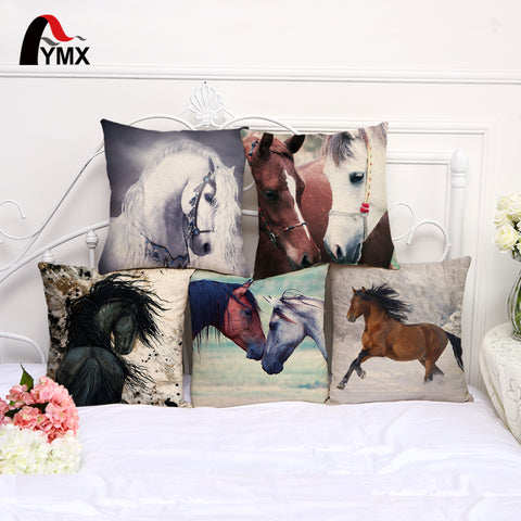 Horse Lovers Cotton Linen Pillow Case - Top Brook