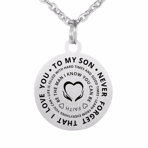 """Never Forget That I Love You"" Stainless Steel Pendants Necklace and Keychain - Top Brook"