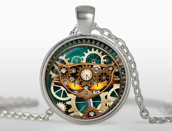 Steampunk Cat Pendant With Clock - Top Brook