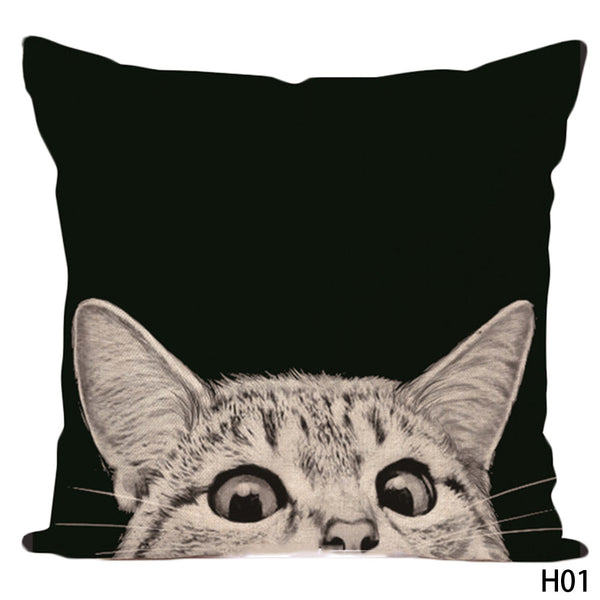 Cat Lovers Cotton Linen Pillow Case - Top Brook