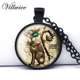Steampunk Cat Clock Pendant - Top Brook