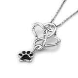925 Sterling Silver Chain Pendant Necklace Dog Paw with Love Heart - Top Brook