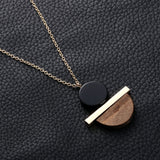 Geometric Circular Resin Wood Pendant Necklace - Top Brook