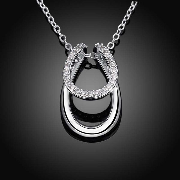 Rhinestone Double Horse Horseshoe Necklace Silver Plated - Top Brook