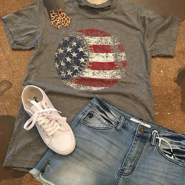American Flag Baseball Tee - Top Brook