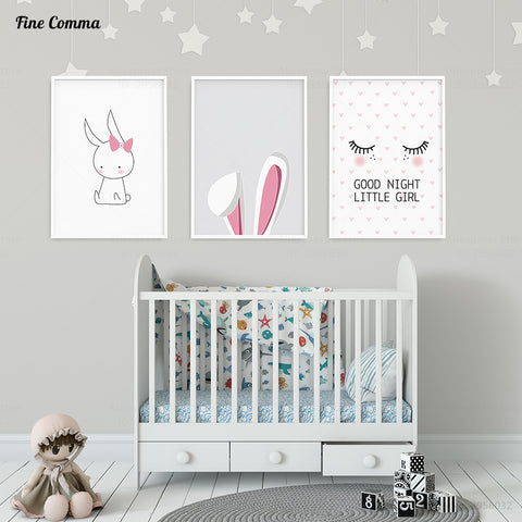 Cute Bunny Kids Decoration Poster Girl's Room PicturesWall Art Canvas Prints - Top Brook