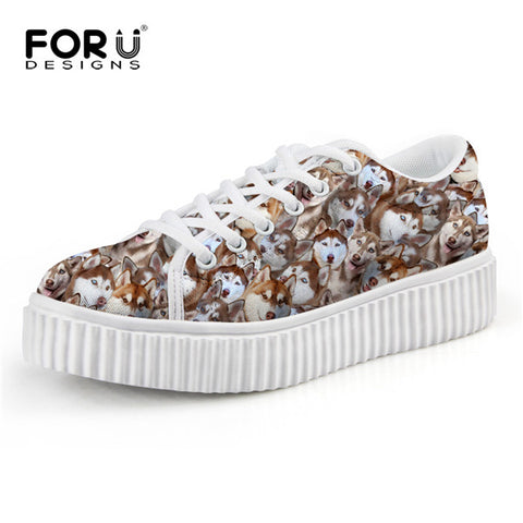 Cute Husky Print Casual Platform Shoes - Top Brook