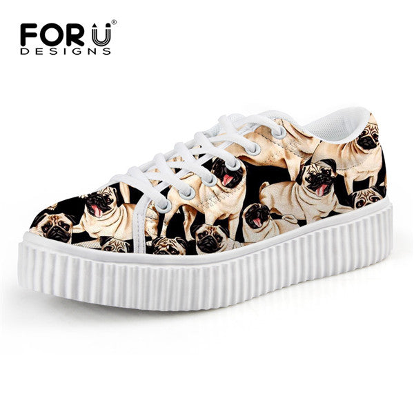 Cute Pug Dog Print Shoes - Top Brook