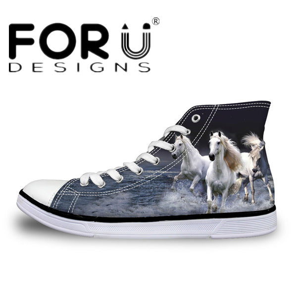 Horses High Top Shoes Men's Canvas Shoes - Top Brook