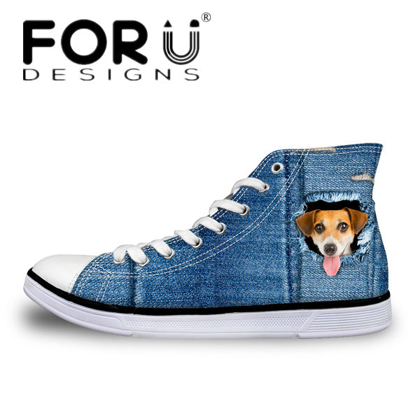 Dog High Top Shoes Men's Canvas Shoes - Top Brook