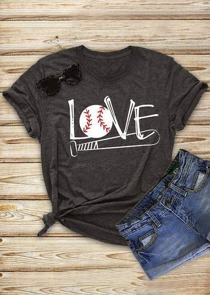Love Baseball Bat Print T-Shirt - Top Brook