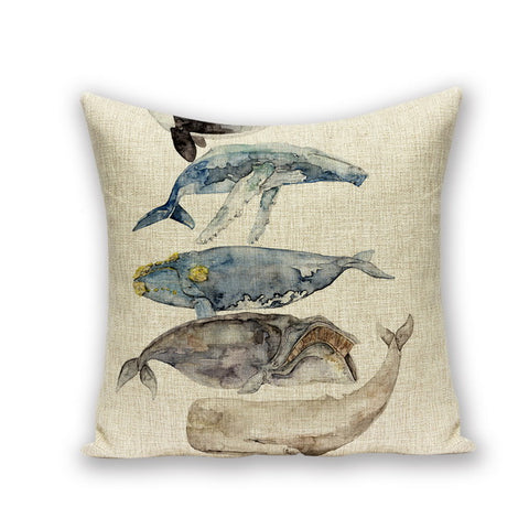 Whale Collection Thermal Cushion Marine Throw Cushion Case - Cotton - Top Brook