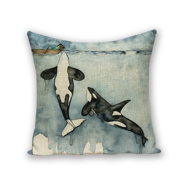 Orcas Thermal Cushion Marine Throw Cushion Case - Cotton - Top Brook