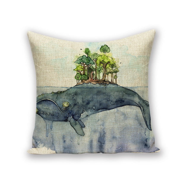 Whale Island Thermal Cushion Marine Throw Cushion Case - Cotton - Top Brook