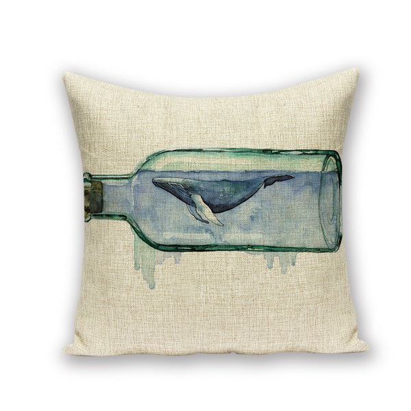 Whale in Bottle Thermal Cushion Marine Throw Cushion Case - Cotton - Top Brook