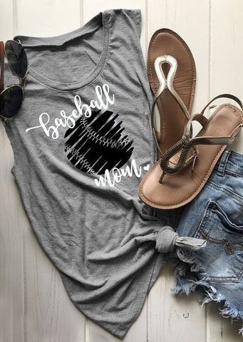 Baseball Mom Print O-Neck Tank - Top Brook