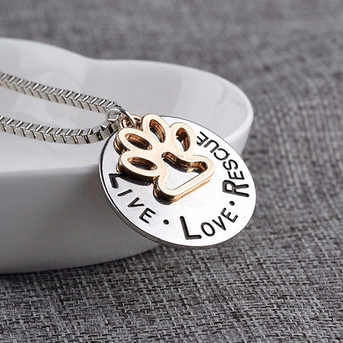 """LIVE LOVE RESCUE"" Dog Paw Claw Print  Pendant Necklace - Top Brook"