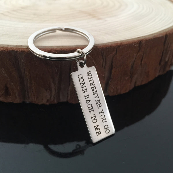 Wherever You Go Come Back To Me Keychain - Top Brook