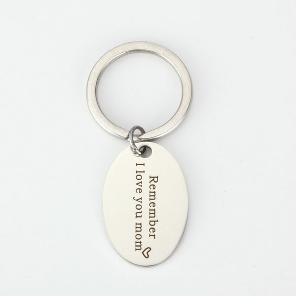 """Remember  I Love You Mom"" Stainless Steel Key hain - Top Brook"