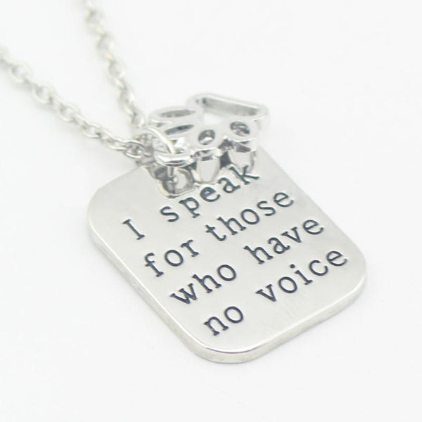 I Speak For Those Who Have No Voice | Necklace for Veterinarians and Vet Techs And Animal Lovers - Top Brook