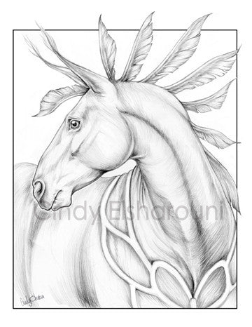 Horse Drawing Coloring Page By Cindy Elsharouni - Digital Download - Top Brook