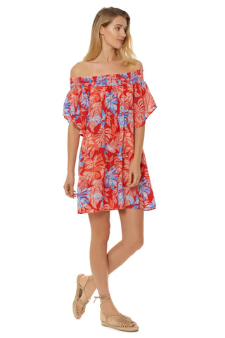 PARADISO OFF SHOULDER DRESS - RED