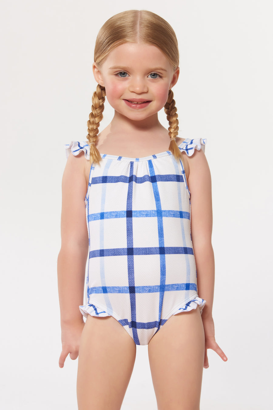 79a5c8bf81a Penelope Kids Ruffle 1 PC - White Blue - Red Carter