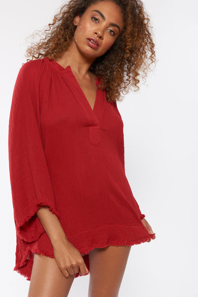 Liya Tunic - Brick - Red Carter