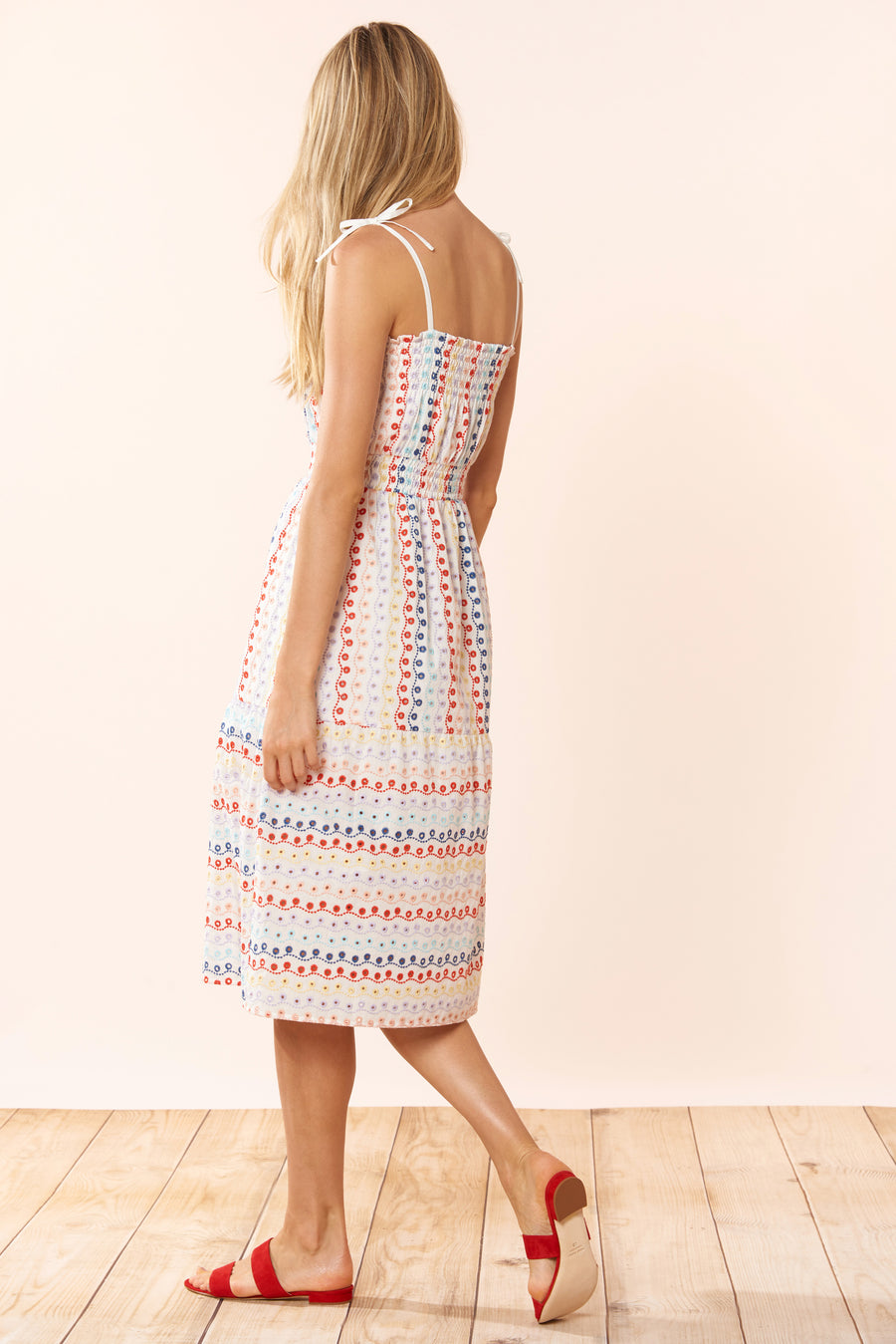 Ayala Dress - Eyelet Multi - Red Carter