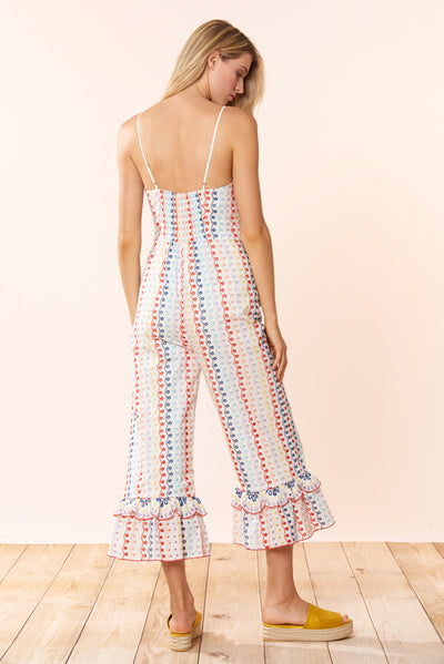 Bailey Jumpsuit - Eyelet Multi - Red Carter