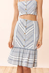 Emma Skirt - Chambray Stripe - Red Carter