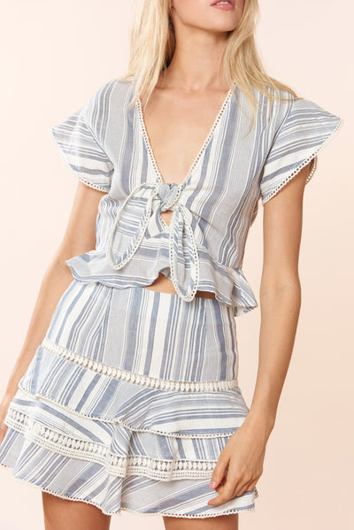 Charlotte Top - Chambray Stripe - Red Carter