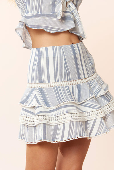 Clara Skirt - Chambray Stripe - Red Carter
