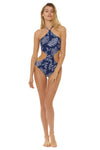 Amazon Jungle Reversible Twist 1 Piece Swimsuit - Navy/White