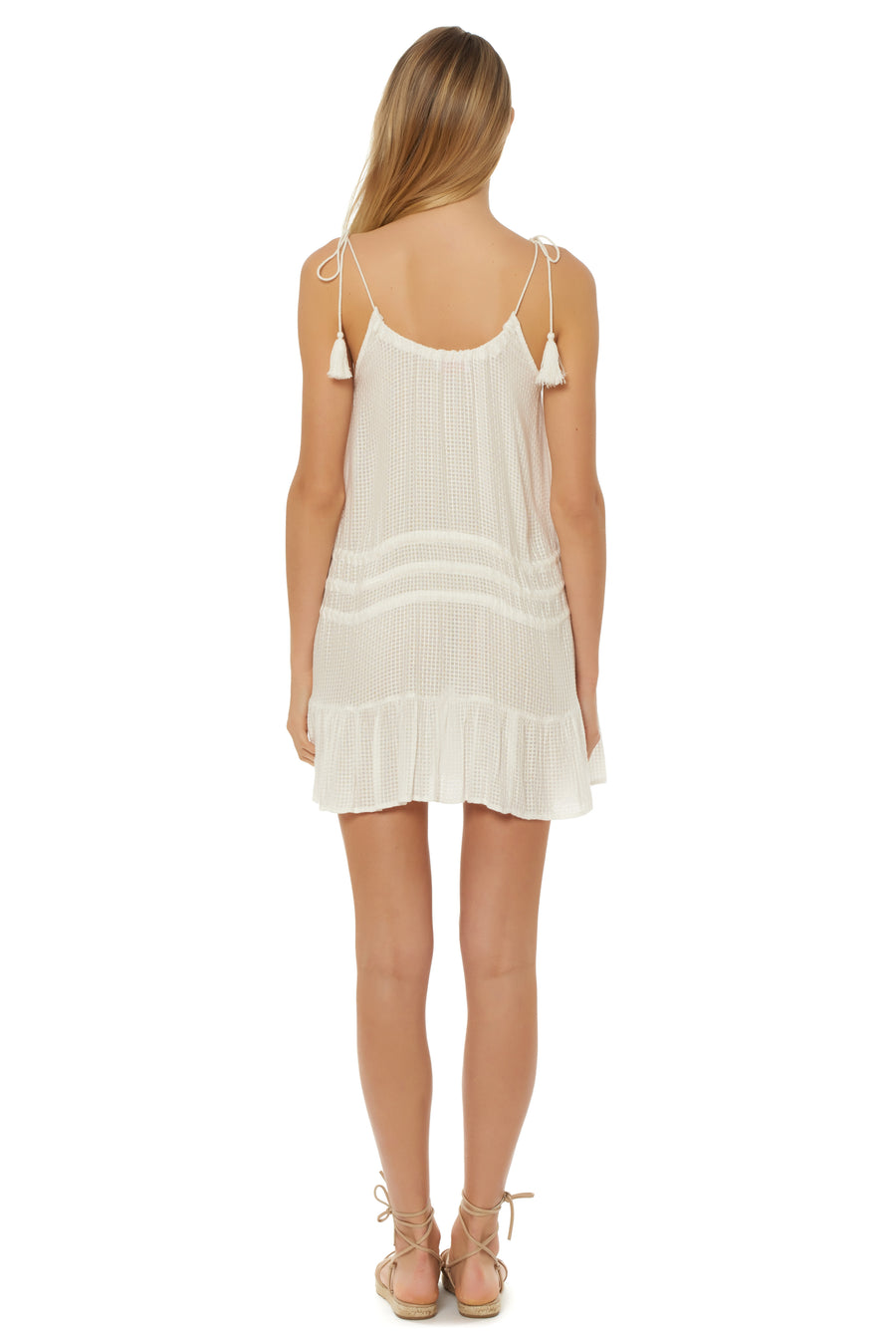 Drawstring Dress Cover Up - White - Red Carter