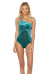 First Crush Lace Back One Shoulder 1 Piece Swimsuit - Emerald