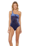 First Crush Lace Back One Shoulder 1 Piece Swimsuit - Navy