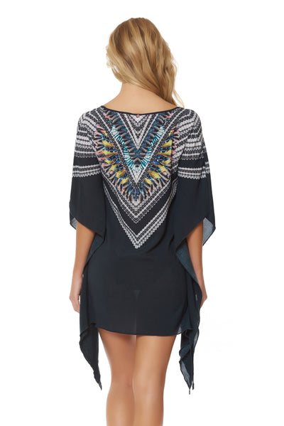 Feather Warrior Poncho Cover Up - Deep Lake
