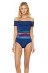 Ipanema Smocked Off Shoulder 1 Piece Swimsuit - Navy