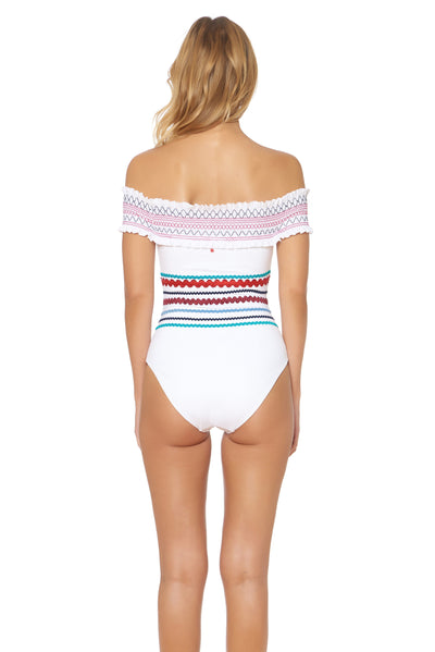 Ipanema Smocked Off Shoulder 1 Piece Swimsuit - White