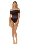 In Stitches Smocked Off Shoulder 1 Piece Swimsuit - Black - Red Carter