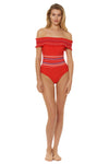 In Stitches Smocked Off Shoulder 1 Piece Swimsuit - Red
