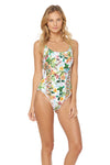 Martinique Side Cut-Out Maillot - White - Red Carter